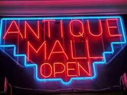 Huge Neon Antique Mall Open Sign With 2 Transformers Business Retail Store