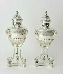 Very Fine Antique Swedish Sterling Silver Pair Of Urns Rams Swann