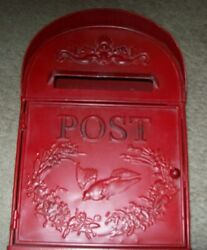 Rustic Red Metal Post Mailbox Front Opening W/slot Wall Mount Indoor Only Decor