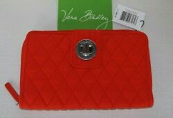 Vera Bradley Turnlock And Zip Around Wallet - Fire Red Microfiber - New With Tag
