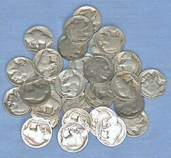 Lot Of 29 Vintage Buffalo Head Nickels - U.s. 5-cent Currency 1913-1938