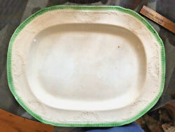 1817-1825 Green Feather Border Clews Platter With Embossed Decoration