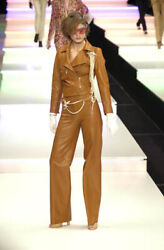 Runway Cropped Straight Pants Chestnut Brown Leather Size Us 10 Fr 42