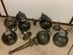 Vintage 7 Lamp Lot Underwriters Torch Globe Glass Wall Mount Lights Mcm Mid Wow