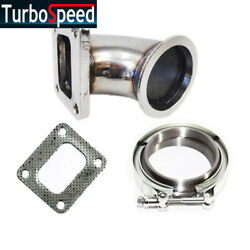 T4 4-bolt To 3 V-band Stainless Steel Turbo Flange Adapter Kit +gasket+clamp