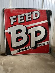 Vtg 1970and039s Era Bp Feeds Old Farm Store 48 X 48andrdquo Embossed Metal Sign Farmhouse