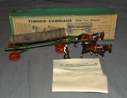 Britains 12f Boxed Timber Carriage With 2 Horses Antique Pre War Toy - Rare