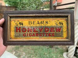Old Honey Dew Cigarettes Advertisement Wall Hanging Frame Litho Tin Sign Board