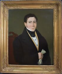 Antique Man Portrait, 19th Century Painting, Attributed To Peter Michal Bohúň