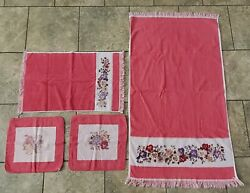 Vintage Mh Jcpenny Pink White Flowers Floral Bath Hand Face Towel Towels Set Lot