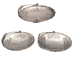 Set Of 3 Chinese Silver Centerpiece Bowls With Floral Piercing By Nanking