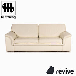 Musterring Leather Sofa Bed Cream Two Seater Function Sleep Function Couch Sofa