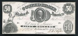 T-8 1861 50 Fifty Dollars Csa Confederate States Of America Currency Note Vf+