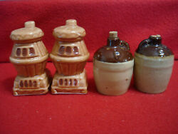 Vintage Wood Burning Stove And Whiskey Moonshine Jugs Salt And Pepper Shakers