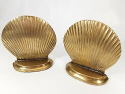 Vintage Brass Clam Shell Seashell Sea Nautical Theme Book Ends Bookends - Pair