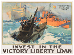 They Kept The Sea Lanes Open- Ww1 Military Vintage World War One Liberty Loan