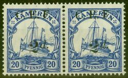 Cameroon 1915 2d On 20pf Ultramarine Sgb4a Surch Double One Albino V.f Very L