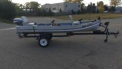 Alumacraft 14and039 Fishing Boat With Evinrude 6 Hp Outboard Motor And Trailer