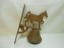 Antique Heavy Cast Iron Hanging Rusty Horse Call-to-dinner Bell Cast Iron Ringer