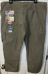 New Wrangler Rip Stop Cargo Relaxed Fit Pants Mens 44 30 Khaki Brown 7 Pocket