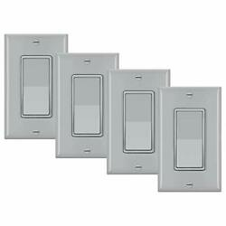 4 Pack Bestten 3-way Wall Light Switch With Wallplate 15a 120/277v On/off Roc...
