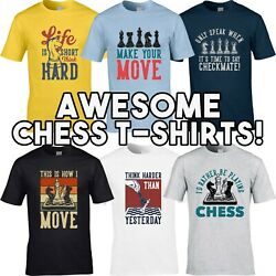 Chess T-shirts Menand039s T-shirt Funny Grandmaster Board Strategy Game Player Gift
