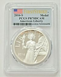 2016 S Pcgs Pr70dcam American Liberty First Strike Flag Label Silver Medal