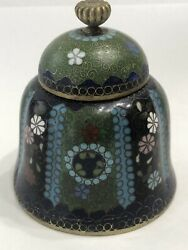 Antique Japanese Asian Scalloped Round Cloisonne Inkwell With Lid No Liner