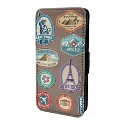 For Mobile Phone Flip Case Cover Travel Stamps - S4411