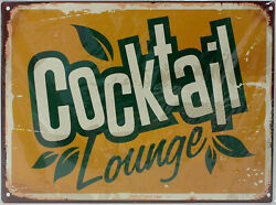 9977586 Mural Tin Sign Vintage Cocktail Lounge 13x9 13/16in