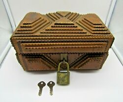 Large Vintage Chipped Wood Tramp Box 1930and039s 5 Layer With Antique Slaymaker Lock