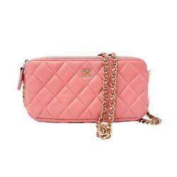 2500 Clutch Quilted Small With Cc Double Zip Pink Leather Cross Body Bag