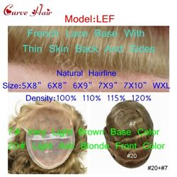Durable Mono Mens Toupee Front Lace Hairpiece Human Hair Light Brown Ash Blonde