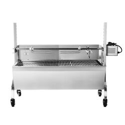Stainless Steel Spit Roaster Rotisserie Barbecue Charcoal Grill 118cm Large