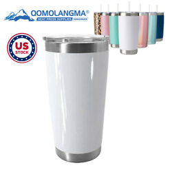 Us 10pcs 20oz Blank Sublimation Beer Tumbler With Sliding Drinking Lid And Straw