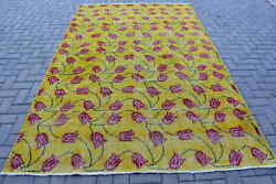 Vintage Rug Large Carpet Turkish Rug Antique Rug 72x114 Inches Yellow Rug T
