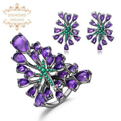 Natural Amethyst Vintage Gothic Gemstone 925 Silver Jewelry Sets For Women Gift