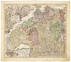 An Antique Map Bernensis, Geneva, Lucerne And Basel Circa 1750 By Georg Seutter