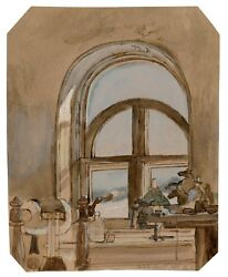 Antique British Interior Painting Signed E.l. Dated 1868 Attributed Edward Lear