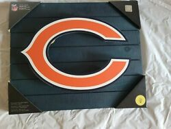 New With Tags Chicago Bearsteam Spirit Lit Wood Wall Décor Plaque