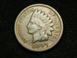 2021 Sale Vf+ 1897 Indian Head Cent Penny W/ Full Liberty And Some Diamonds 102