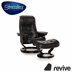 Stressless Royale Leather Armchair Incl. Stool Black Function Relaxfunktion