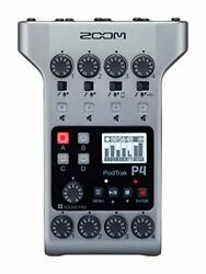 Zoom Podtrak P4 Podcast Recorder Battery Powered 4 Microphone Inputs 4 Headph...