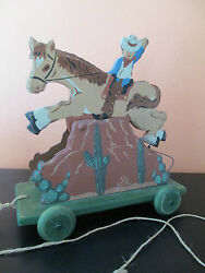 Vintage 1993 Bucking Rodeo Cowboy Wood Pull Toy By Heritage Toys And Collectibles