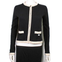 - Zip Cashmere Cardigan Sweater - 2003 Black And White Trim 03a - Us 6 - 38