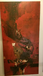 Luis Bujalance - Fire Signed Original Oil / Mixed Media On Canvas 24 X 48