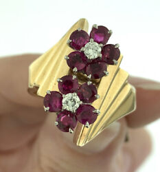 Vintage 1950's Ruby And Diamond Flower Design Statement Ring 14k Gold Size 8.25