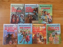 Lot Of 9 Great Illustrated Classics - 3 Musketeers, Ivanhoe, Poe, 80 Days +