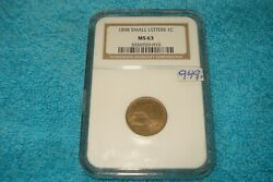 1858 1 Cent Flying Eagle Cent Ngc Ms 63 Uncirculated Small Letters Sl