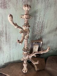 Antique Vintage 15 Cast Iron Wall 2-4 Hook Swing Coat Towel Hanger Shabby Chic